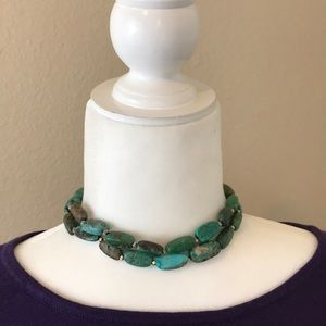 Red Envelope Turquoise & Silver Choker Necklace